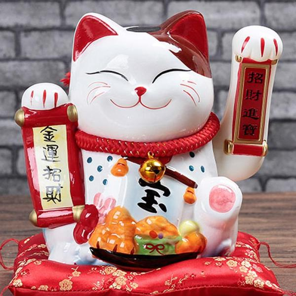 Fortune Cat Decoration Automatic Wave Shop Opening Ceramic Large Size Electric Handle Fa Cai Gato Negro 58 Creative Gifts