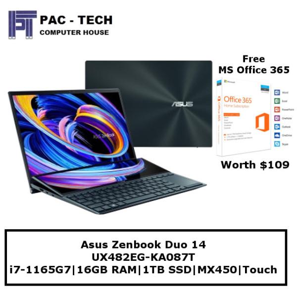 [Free Office 365] Asus Zenbook Duo 14 | i7-1165G7 | 16GB RAM | 1TB SSD | Nvidia MX450 | 14 Touchscreen | Screenpad Plus | Windows 10 Home | 2 Year Warranty
