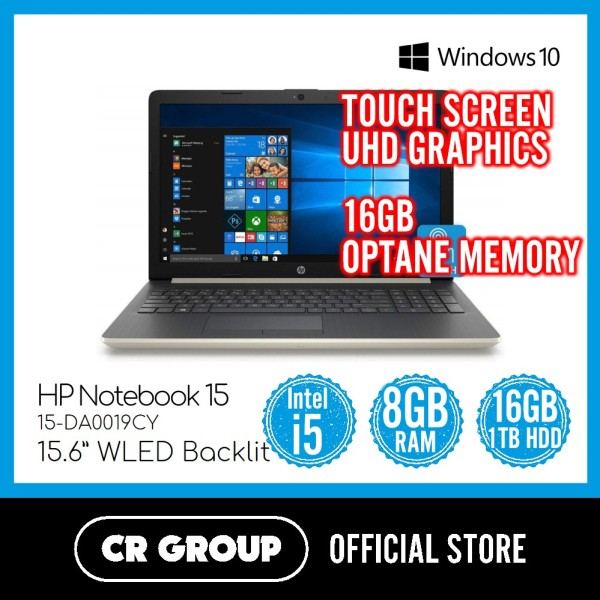 Same Day Delivery Option* HP Notebook 15-DA0019CY | Touch Screen | Intel® Core™ i5 | 8GB DDR4 RAM | 16GB Optane and 1TB (Refurbished)