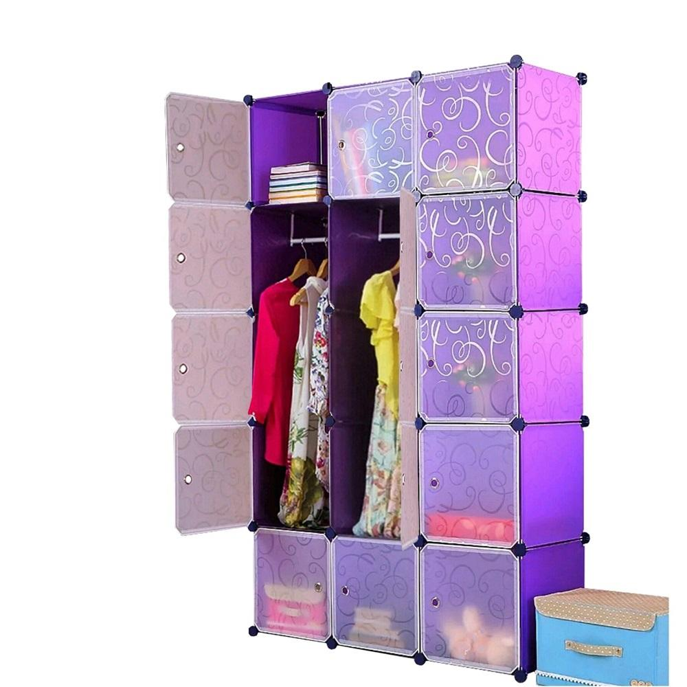 Wardrobe Storage Rack as Bedroom Furniture , Rack Wardrobe Clothes Organization Storage Cabinets , Cube Wardrobe Storage Cabinet Clothes Rack - Wardrobe 15 Cubes MultiColour Design DIY Space Saving Closet Dresser for Standard Size and Extra Large Version