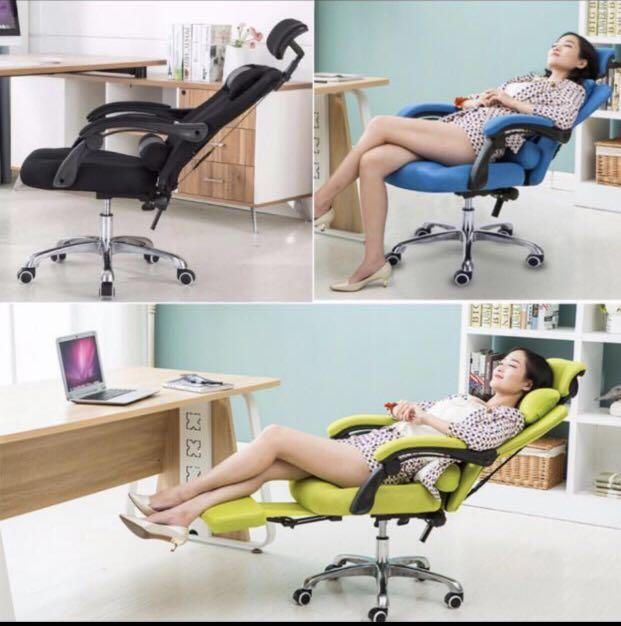 Local Seller (Free Installation) Director Chair Ergonomic Style Function Adjustable Reclineable Executive Office Chair (Without Legrest/With Legrest) (Mesh-With legrest)