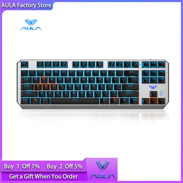 AULA Factory Store F3087 Real Mechanical Switch Gaming Keyboard Hybrid Light Separate Key Line Cool Backlight System LED Backlight Keyboard Computer Gamer Singapore