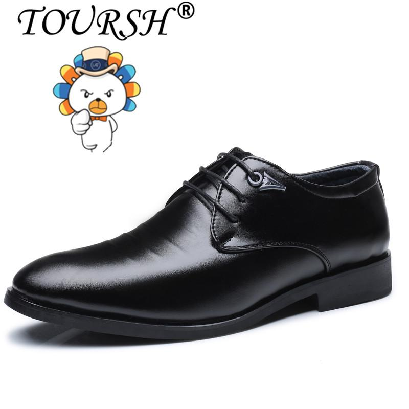 38d57878732 China. TOURSH Business Dress Men Formal Shoes Wedding Fashion Genuine Leather  Shoes Flats Oxford Shoes For Men