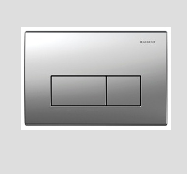 GEBERIT Flush actuator front or top operated  Kappa50  with dual flush, zinc diecast, matt chrome-plated