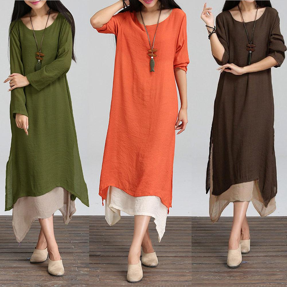1e8b93ca9c Women Cotton Linen Vintage Dress Contrast Double Layer Casual Loose Boho  Long Plus Size Retro Maxi Dress - intl