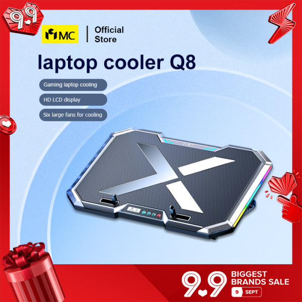 MC Q8 Gaming RGB Laptop Cooler Notebook laptop Cooling Pad Super mute 6 LED Fans Powerful Air Flow Portable Adjustable Laptop Stand