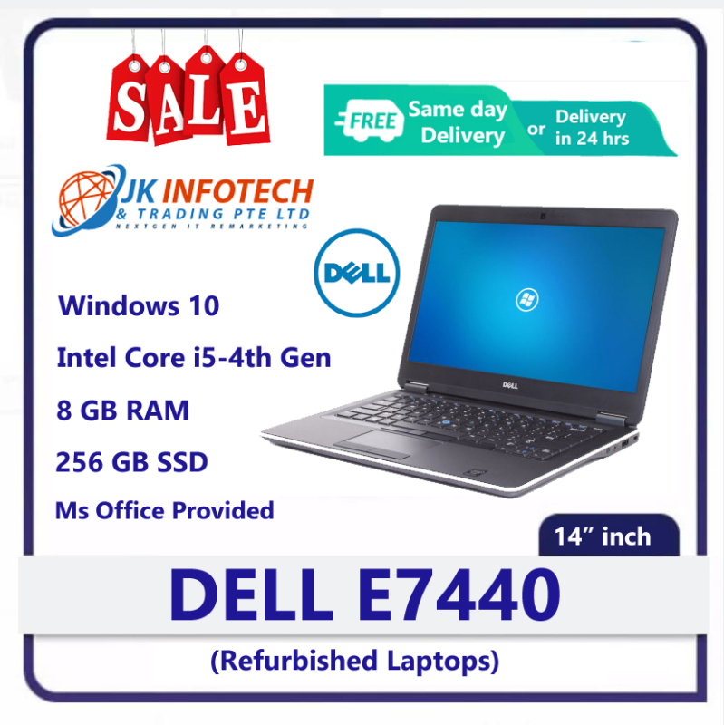 [Same Day Delivery or within 24 hrs Delivery ] Dell Latitude E7440 (Refurbished) | intel core i5 -4th Gen | 8GB RAM | 256 GB SSD | 14 inch Display Screen | Windows 10 | Ms office