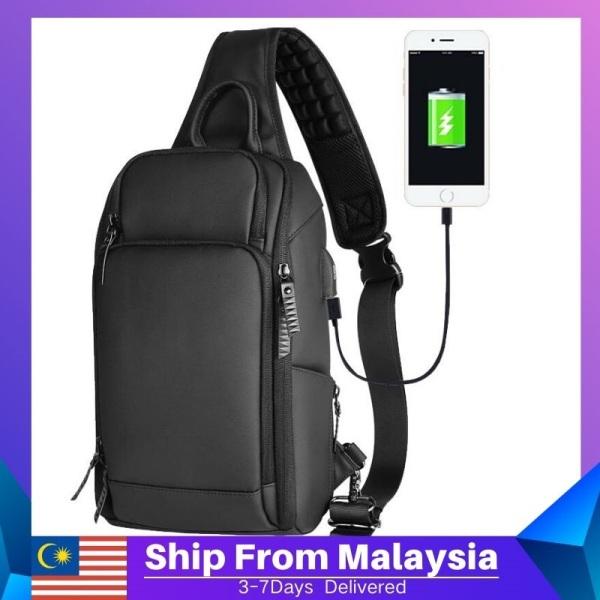 Black Men Chest Bag Casual Sling Shoulder Bag Crossbody Bag USB Charging Bag Waterproof Messenger Bags