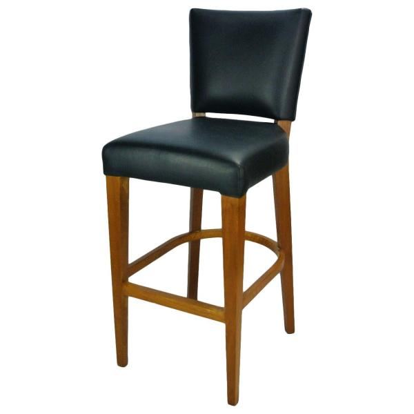 Solid Wood Bar Stool, Leather Upholstery (Upcycled)