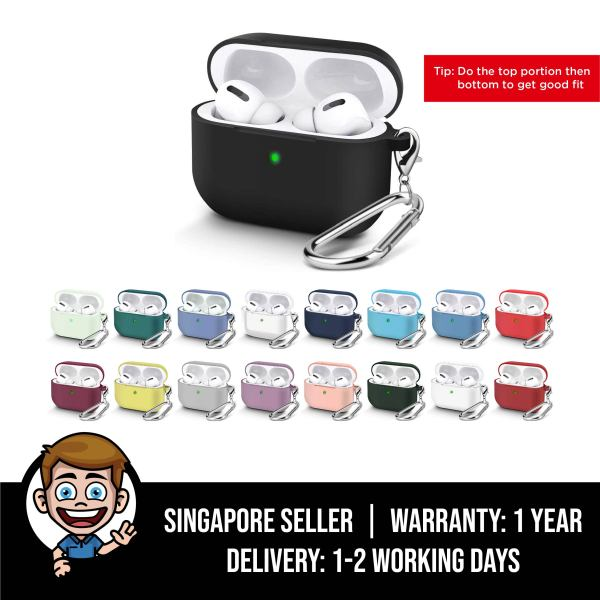 AirPods Pro Silicone Case 2019, Visible Front LED, Soft Silicon, Shock, Dust & Scratch-Resistant, Durable Protective Cover with Keychain Carabiner for AirPod Pro Charging 2019 Case Singapore