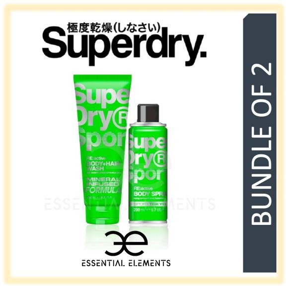Buy SUPERDRY [BUNDLE OF 2] RE:active MEN BODY & HAIR WASH 250ML + BODY SPRAY 200ML | SPORT ORIGINAL GROOMING ATHLETIC BATH SHOWER DEODORANT SHAMPOO Singapore