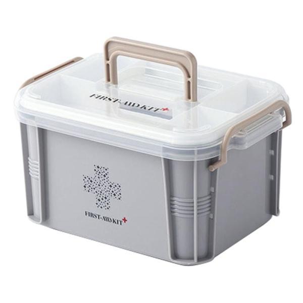 Medical Box First Aid Kit Organizer Plastic Storage Container Multi-Layer Medicine Box Nordic Home Organizing Boxes Gray+White S