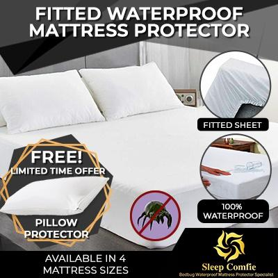 Fitted Waterproof Mattress Protector - Protect Against Fluid Spill (free Waterproof Pillow Protector Worth $11.9 With Every Purchase) By Sleep Comfie.