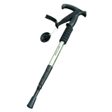 Latest 3 Section Ultralight Shock Absorber Trekking Pole Collapsible Walking Stick With Rubber Curved Handle Silver