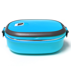 Cheaper 1 Layers Stainless Steel Lunch Box Picnic Storage Box Insulated Thermal Blue