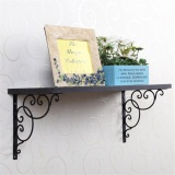 Buy 1 Pair Antique Floral Cast Iron Shelf Brackets Support Wall Mounted Decoration 20 20Cm Black Intl Cheap Singapore