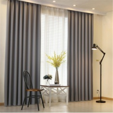 1 Pair- Linen Fabric Blackout Curtains Extra Thick Elegant Curtain Blinds- Grey-Free Hooks - intl