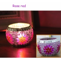 1 pc Colorful Glass Candle Holder Aroma Burner Home Decoration Moroccan Mosaic Carved Candle Cup - intl