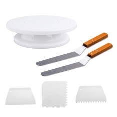 1 Pcs Cakes Turntable 2 Pcs Baking Frosting Spatulas 3 Pcs Pastry Scraper Combs For Decorating Rotating Cake Intl Best Price