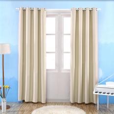 1 x 2.5m Solid Color Room Door Window Balcony Darkening Blackout Curtain Valance Bedroom Grommet Window Curtain Panels Beige - intl