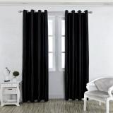 Latest 1 X 2 5M Solid Color Room Door Window Balcony Darkening Blackout Curtain Valance Bedroom Grommet Window Curtain Panels Black Intl