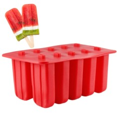 Promo 10 Cells Ice Cream Popsicle Frozen Mold Silicone Ice Cream Lolly Pop Maker Mould Ice Tray With Cover Lid Specification Red