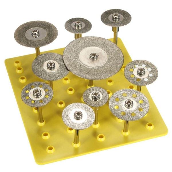 10 Pcs Set Diamond Cut Off Saw Wheel Discs Blades Rotary Tool Set with Shank - intl