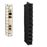 Great Deal 10 Section Hanging Clothes Garment Organiser Shoe Rack Storage Stand Organiser