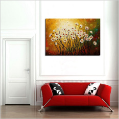 100% Hand painted modern simple style oil painting on canvas abstract little white color flowers oil painting for home wall art decoration