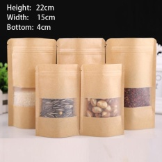 Sales Price 100 Pcs 15X22 4Cm Stand Up Bulk Food Storage Ziplock Bag Food Moisture Proof Bags Window Bags Brown Kraft Paper Doypack Pouch Ziplock Packaging For Snack Cookies Mylar Heat Sealable Smell Proof Pouches Tear Notch Coffee Zipper Valve Grocery Wrap