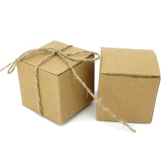 100 PCS Kraft Paper Boxes Brown Cardboard Wedding Party Candy Gift Favor Box with Strings - intl