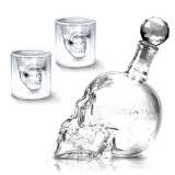 Recent 1000Ml Skull Head Vodka Whiskey Glass Bottle Drinking Decanter With 2Pcs 73Ml Cups
