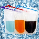Buy 100Pcs Clear Drink Pouches Bags Heavy Duty Hand Held Translucent Reclosable Zipper Stand Up Plastic Pouches Bags Drinking Bags 2 4 Bottom Gusset With Straws Intl Online