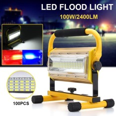 100W 100 LED Portable Rechargeable Flood Light Spot Work Camping Outdoor Lamp Yellow - intl Singapore