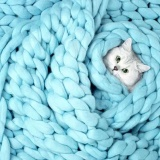 100X80Cm Hand Chunky Knitted Blanket Thick Wool Bulky Knitting Throw Blue Intl Shopping