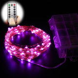 Discount 10M 100 Leds 33Ft 8 Modes Waterproof Warm White Battery Operated Led String Lights Fairy Lights Christmas Lights With Remote Control Pink