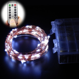 Promo 10M 100 Leds 33Ft 8 Modes Waterproof Warm White Battery Operated Led String Lights Fairy Lights Christmas Lights With Remote Control White