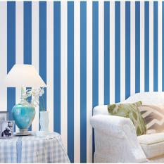 10M Stripe Non Woven Wallpaper Roll Home Decor Wall Paper Tv Backgroud Bedroom Blue Coupon