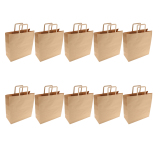 Cheaper 10Pcs Brown Kraft Paper Christmas Party Gift Food Bags 320 X 145 X 340 Mm Intl