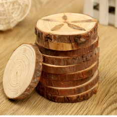 10PCS Natural Tree Round Wood Log Slice For Wedding Centerpiece Bark Table Decor - intl
