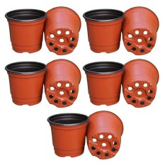 10Pcs Plastic Flower Pots Planters Double Color Garden Plant Nursery Pots Container for Growing Herbs Smaller Annual Vegetables - intl