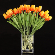 10pcs Tulip Flower Latex Real Touch for Wedding Bouquet Decor Best Quality Flowers (orange tulip)