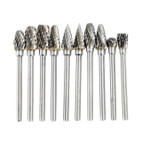 Low Price 10Pcs Tungsten Steel Hard High Speed Steel Rotary File Electric Grinding Accessories Or Dremel Rotary Burr Tool Set Cnc Engraving Intl