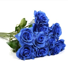Best Reviews Of 10Pcs Lot Rose Artificial Fake Flowers Floral Simulation Bouquet Home Wedding Party Decor Blue Intl