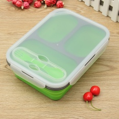 Buy 1100Ml Silicone Collapsible Portable Lunch Box Bowl Bento Boxes Folding Food Storage Container Lunchbox Eco Friendly Green Intl Cheap China