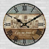 Discount 12 Inch 30Cm Brown Vintage Dream Wall Clock With Roman Numerals Country Kitchen Intl None