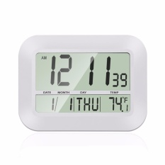 Discount 12 Inch Large Lcd Alarm Clock Slim Digital Calendar Day Clock Wall Clock Silent Desk Shelf Clocks Battery Operated For Home Office Ivory White Temperature Display Snooze Timer Function Intl Oem China