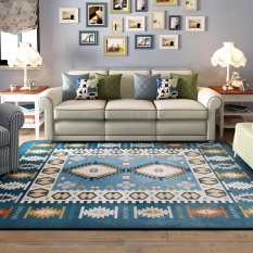 120X180CM Large Size Simple Modern Mediterranean Soft Carpet Area Rugs Slip Resistant Floor Mats For Parlor Living Room Bedroom Home Supplies - intl(Blue)