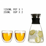 1250Ml Large Capacity Glass Pitcher With 2 X 250Ml Glasses High Temperature Heat Proof Cold Cool Water Bottle With Stainless Steel Filter Lid Borosilicate Glass Lead Free For Sale Online