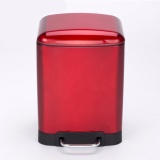 Great Deal 12L Stainless Steel Pedal Step Oval Trash Can Fashion Design Ultra Silence Dustbin Red Intl
